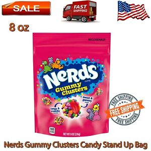 Nerds Gummy Clusters Candy Stand Up 8 oz, Tangy and Crunchy, Sweet, Yummy, Chewy