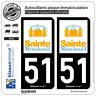 2 Stickers autocollant plaque immatriculation : 51 Sainte Ménehould - Ville