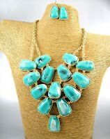 Elegant Colored Beads Chunky Gold Necklace Earrings Set Costume Women Jewelry