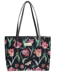 Signare Gobelin Schultertasche Tulpe black Damen Handtasche  Blume Tapestrie Bag
