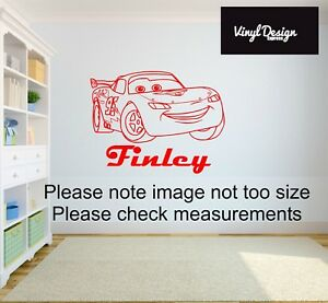 Cars lightning mcqueen personalised vinyl wall art sticker for childrens bedroom