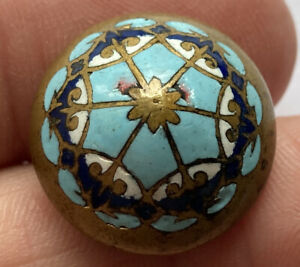 """Antique Vintage Champleve Enamel Button With White & Turquoise 3/4"""""""