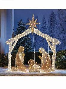 "72"" Crystal Splendor Nativity Scene 2D Lighted Sculpture Christmas Yard Display"