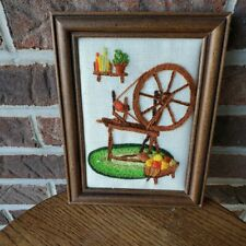 Vintage Embroidered Spinning Wheel and Yarn Scene