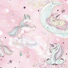 New GOLD glitter collection,unicorn in pink moon,100% cotton fabric width 160cm
