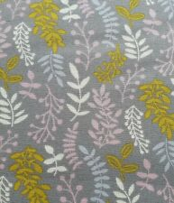 100% Cotton Fabric Freedom Yellow Pink Grey Leaf Fabric Half a Metre 50 x 112cm0