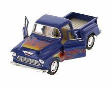 Kinsmart 1955 Chevrolet Stepside Pickup w/ Flames 1:32 Diecast Toy Truck Blue