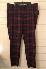 NWT Crown & Ivy Women's Plus 20W Navy Pink Plaid Striped Preppy Pants $72.50!