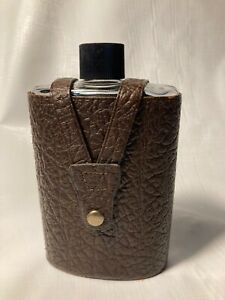 Vintage Glass Hip Flask in Genuine Brown Leather Case