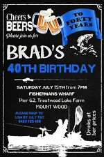 Kayak Fishing 30th 40th 50th 60th Invitation Birthday Party Boat Fisherman Age