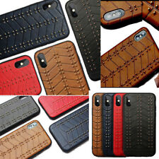 Back Leather Metal Stud Thin Slim Fit TPU Case Cover For iPhone 6 6S 7 8 Plus XS