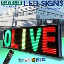 """Olive Led Sign 3Color Rgy 22""""x60"""" Ir Programmable Scroll. Message Display Emc"""