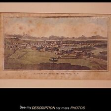 Antique Hand Colored Lithograph View of the City of Troy New York