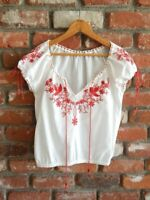 MEXICAN PEASANT TOP ~ Vintage 70's Inspired Embroidered Folk Hippie Blouse ~ S