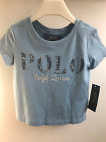 Ralph Lauren Girls Polo Cotton Jersey Graphic Logo Tee T-shirt 4 New with Tag