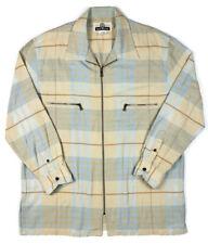 Blue Willi's Mens L Full Zip Long Sleeve Sweater Jacket Shirt Tan Blue Striped