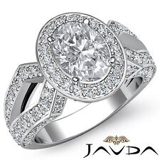 Halo Pave Set Oval Diamond Marvelous Engagement Ring GIA F VS2 Platinum 2.88ct