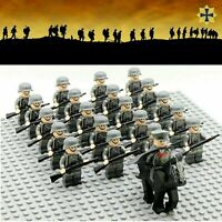 Army Soldier Military WW2 Ger 21 + Rifles MiniFigures Horse Blocks Fit Lego