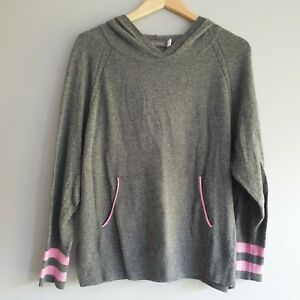 Mint Velvet Womens Size M Grey Pink Star Cashmere Hoodie Jumper Casual Summer