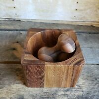 Beautiful Handmade Wooden Mortar And Pestle Square Wood