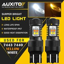 2X AUXITO 7443 LED Switchback Dual Color White Yellow amber Turn Signal Light EA