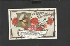 Vintage Greeting Postcard a Happy Birthday Carnations  unposted