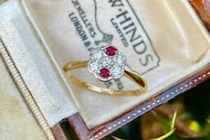 18ct Yellow Gold & Platinum Art Deco Ruby and Diamond Cluster Ring SIZE L