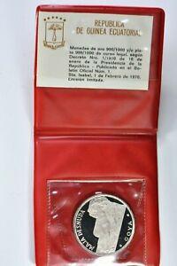 1970 Republic of Ecuatorial Guinea .9999 silver Proof Pesetas 20.1g 99c NR