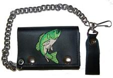 EMBROIDERED BASS FISH TRI FOLD BIKER WALLET With CHAIN mens LEATHER #627 new