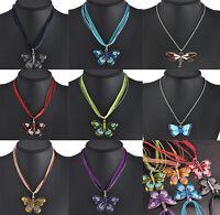 Elegant Women Enamel Butterfly Dragonfly Crystal Silver Pendant Necklace Jewelry