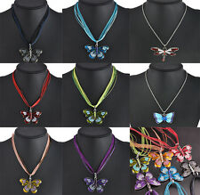 Elegant Women Enamel Butterfly Dragonfly Crystal Silver Pendant Necklace Jewelry