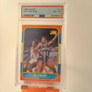 1986 Fleer 118 Jay Vincent PSA 6 GRADED 1986-87 Mavericks RC