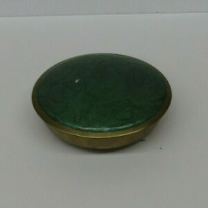 Gorgeous VTG Solid Brass Art Deco Candy/Nut Dish w/Emerald Green Lid