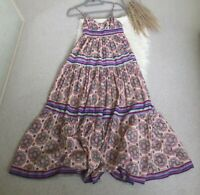 Miss Selfridge Boho Maxi Full Circle Dress Sz 8 Geometric 100% Cotton Sleeveless