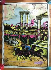 Original Vintage Velvet Black Light Poster Gemini Rising F322 Colosseum Chariots
