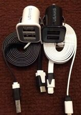 2x MICRO USB CABLE + 2x DUAL PORT 12V CAR CHARGER FOR SAMSUNG GALAXY S3 S4 S5 S6