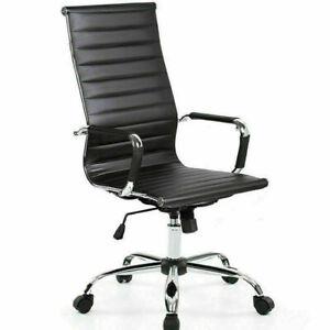 DESIGNER OFFICE EXECUTIVE SWIVEL CHAIR PU LEATHER COMPUTER DESK SEAT TASK MODERN