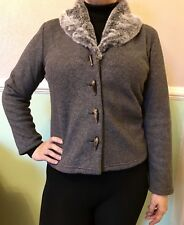Vintage MINUET Long Sleeve Grey Shrug / Jacket With Faux Fur Collar Size 12 / 38