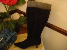 "STYLISH""IMPO STRETCH"" WOMEN BLACK FABRIC  ZIP SIDE MID HEEL BOOTS 10M"