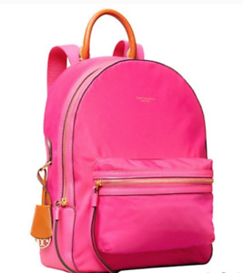 Tory Burch NEW Perry Bright Pink Nylon Zip Pockets Leather Handle Backpack $248