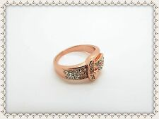 Beautiful Rose Gold Plated Buckle Ring,Belt,Size Q,Anti-Allergic,Rhinestones