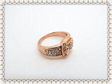 Hermosa Rosa oro plateado Hebilla Anillo, Cinturón, tamaño Q, anti-alérgico, pedrería