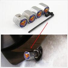 Car Wheel Tire Valve Stem Superman Logo Metal Anti-Theft Locking Caps Cover 4pcs