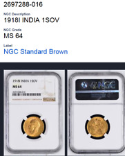 India-British Sovereign KM# A525 1918   NGC MS 64 - GOLD COIN