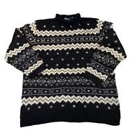 VINTAGE Womens Knit Jumper Large Petite Black Patterned Wool Pullover