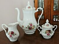 Crystal Clear English Rose Coffee Pot With Matching Sugar and Creamer NEW!