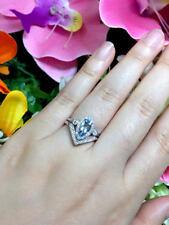 Open Diamond Bezel Wedding Band & Marquise Cut Aquamarine Bridal 2pcs Set Ring