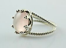Rose Quartz Silver Ring 925 Solid Sterling Silver Handmade Jewelry Size 3-13 US
