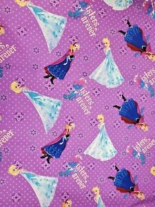 """1 yrd Disney's  Frozen SISTERS FOREVER on Purple 44"""" Wide Cotton Quilt Fabric"""