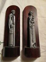 Arte sacra 2 STATUINe in peltro con base legno sacra famiglia Sant'Antonio